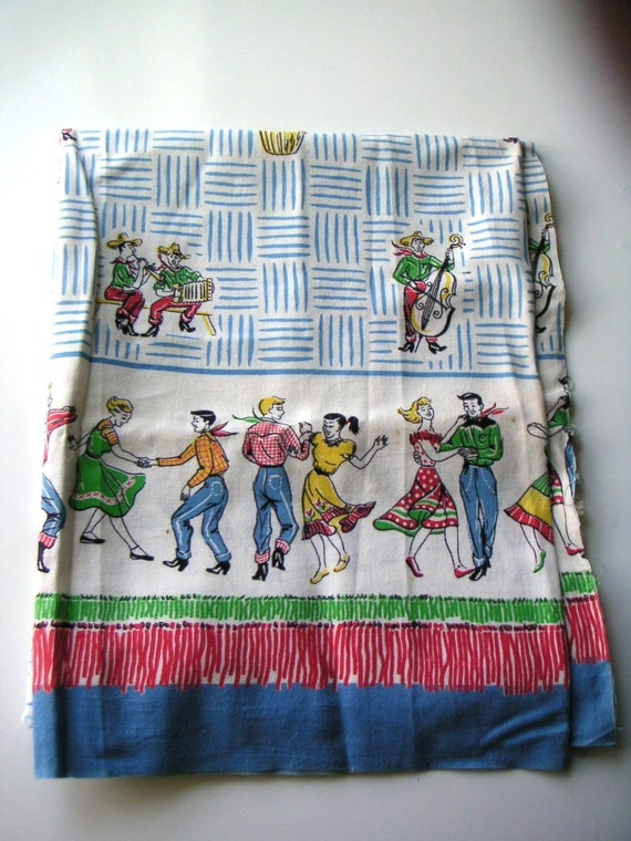 Vintage 1950s Novelty Cotton Fabric With Hoedown Border Print