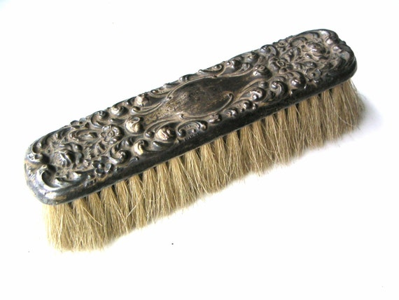 RESERVED for Ranisfinds antique sterling silver and horsehair clothes or shoe brush, from the late 1800s oxidized patina repousse flowers victorian