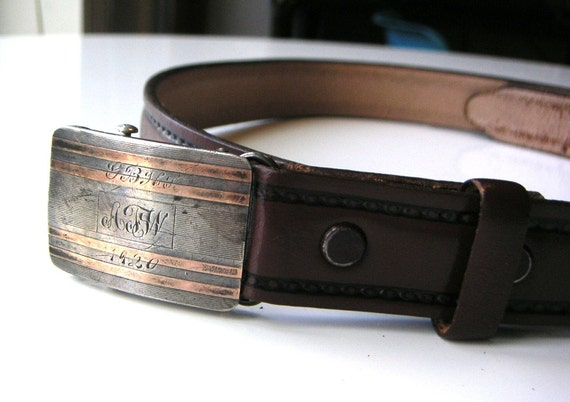1920s brown cowhide belt with solid sterling silver and rose gold art deco edwardian buckle with engraving machine age
