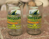 Margaritaville Landshark Lager Novelty Juice Glasses made from recycled bottles