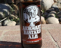 Arrogant Bastard Ale 16 ounce drinking glass made from Stone Brewing beer bottle