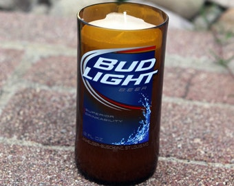 Scented Soy Candle made from a repurposed Bud Light Beer Bottle
