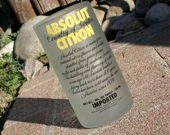 Absolut Citron Vodka Upcycled Bottle Drinking Glass / Vase / Luminary