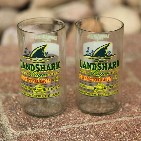 Margaritaville Landshark Lager Novelty Juice Glasses made from recycled bottles