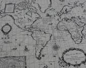 World Map print Linen cotton blended fabric - 1 panel