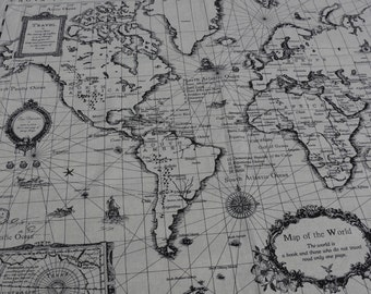World Map print Linen cotton blended fabric - 1 panel