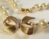 SALE Cordelia pearl and vintage ribbon brooch necklace