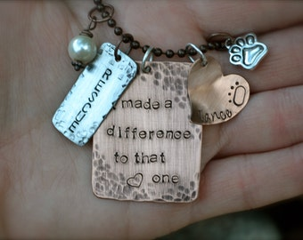 Dog Rescue Adoption Day - Custom Metal Stamped Necklace