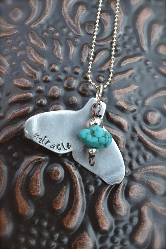Whale Tail Metal Stamped Necklace - Smooth Silver