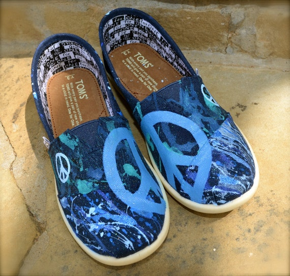 Peace of Blues custom TOMS Shoes - YOUTH