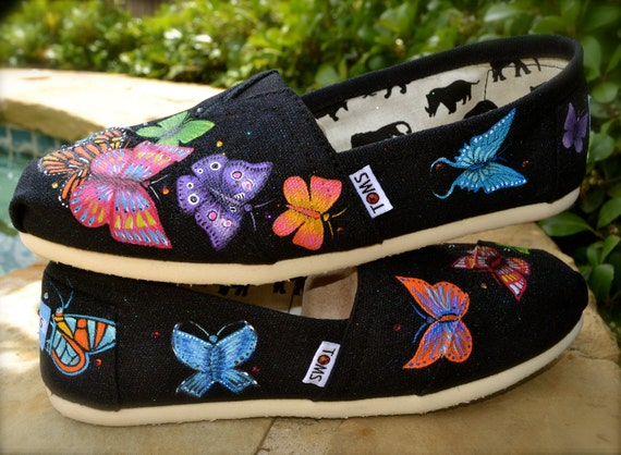 Butterfly Flutterby Themed Custom TOMS Shoes