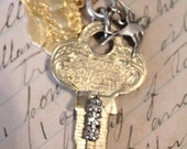 Vintage Blinged Key, Bird's Nest Charm and Bird Pendant Necklace