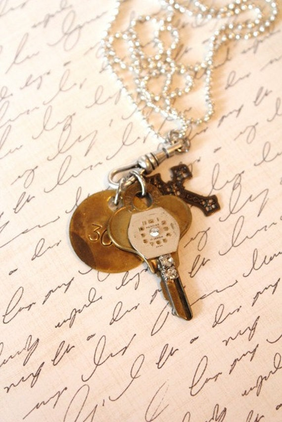 Vintage Watchface Key Pendant with Number 302 Brass Tag and Cross Necklace
