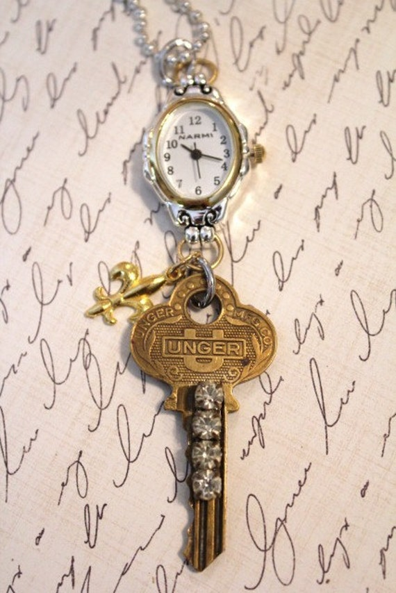 Vintage Key with Watch and Fleur de Lys Pendant Necklace