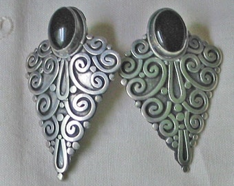 ONYX & SILVER SCROLL Earrings, Art Nouveau Design, 525 Stamps Raised Classic Texture, Stud Posts Steampunk Goth Jewelry, Free Usa Ship
