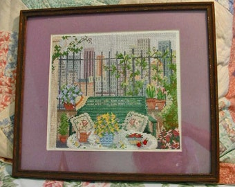 Peaceful AFTERNOON TEA in the PARK Needlepoint, Cityscape, Garden Bench, Strawberries, Flowers, Iron Fence, Pastel Colors, Vintage Framed