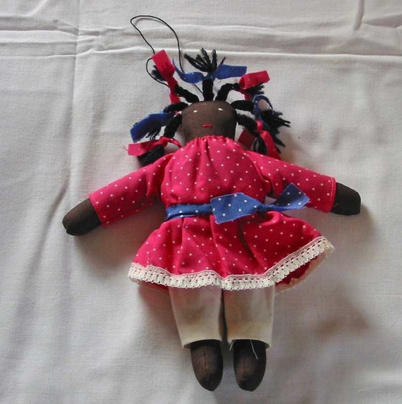 Folk Art Black Americana CLOTH RAG DOLL Handmade Brown Cotton Body, Polka Dot Red Dress, Blue Sash, Braided Wool Hair, Farmhouse Primitive