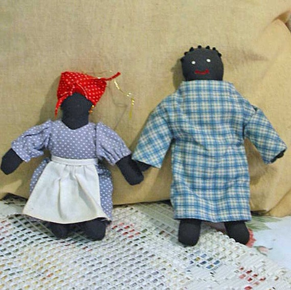 2 African American Mini Cloth Rag Dolls Polly Handmade