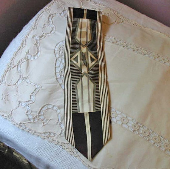 Elegant ART DECO NECKTIE Gold, Gray, Ivory, & Black Geo Designs, Stripes, All Silk Bergamo, Nice Guy Gift
