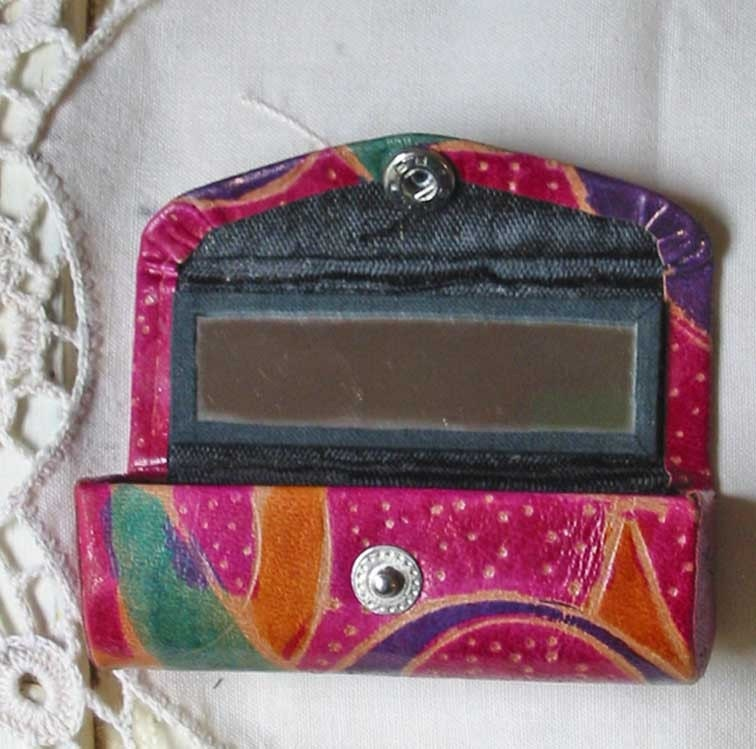 Pretty Painted Leather Lipstick Case Handmade In India Free