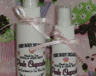 SPECIAL--Pure Body Delights--Head-to-Toe---PINK CUPCAKE---Silk Protein Body and Hair Mist Spritzes--So Sweet