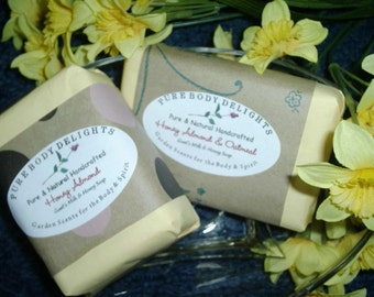 EXTRA Rich and Creamy Lather--Goat's Milk Oatmeal Honey and Almond Moistuizing Soap Bar--Pure and Natural--Oh so good for you