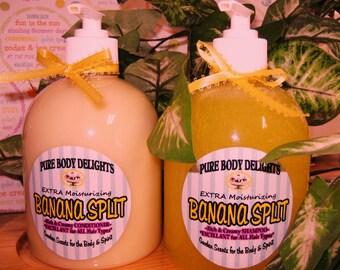 BANANA SPLIT---Natural Creamy EXTRA Moisturizing Conditioner, Paraben Free--Huge 18 oz Bottle--Biggest and Best Deal on Etsy