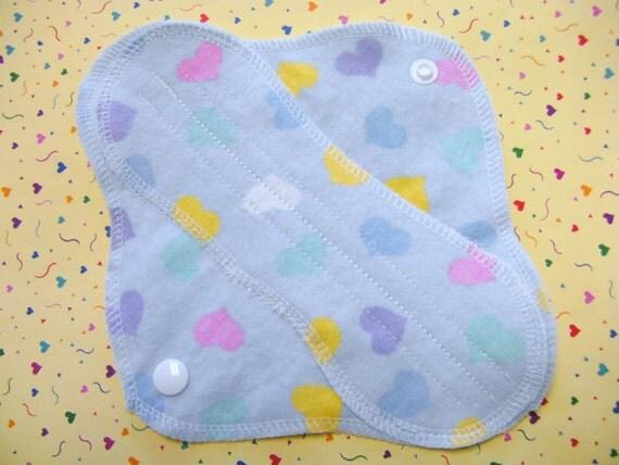 Pink Blue--LOVE Hearts---8 inch--Comfy Cloth Sanitary Pad--Panty Liner--Feminine Pad