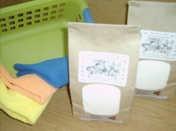 SPECIAL Natural Laundry Soap--250 to 500 Loads--Fantastic on Cloth Diapers--2 Large Bags and FREE BONUS Bag REFILL--BIGGEST and BEST DEAL on ETSY