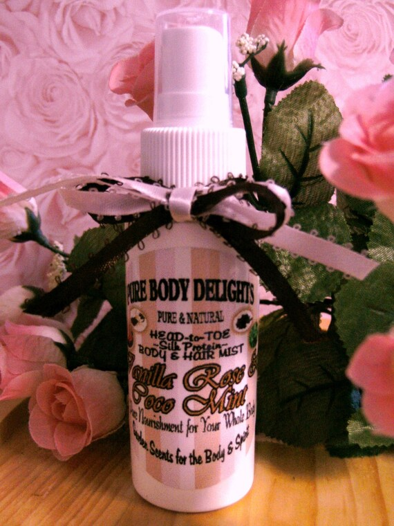 SPECIAL--NEW SCENT---Vanilla Rose Coco Mint---Silk Protein Body and Hair Mist Spritz--So Delicious