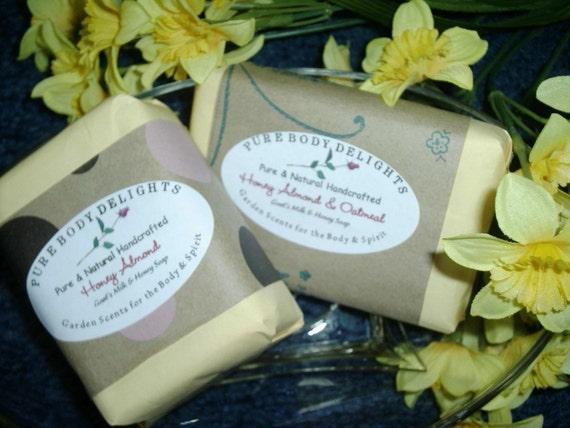 Goat's Milk Oatmeal Honey and Almond Moistuizing Soap Bar--Pure and Natural--BIG 5 oz. Bar
