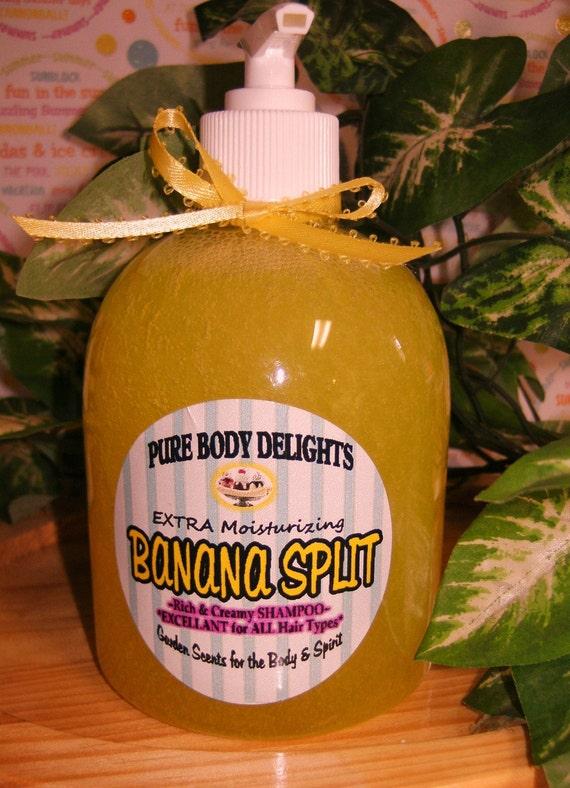 BANANA SPLIT---Natural  Creamy EXTRA Moisturizing Shampoo, Paraben Free--Huge 18 oz Bottle--Biggest and Best Deal on Etsy