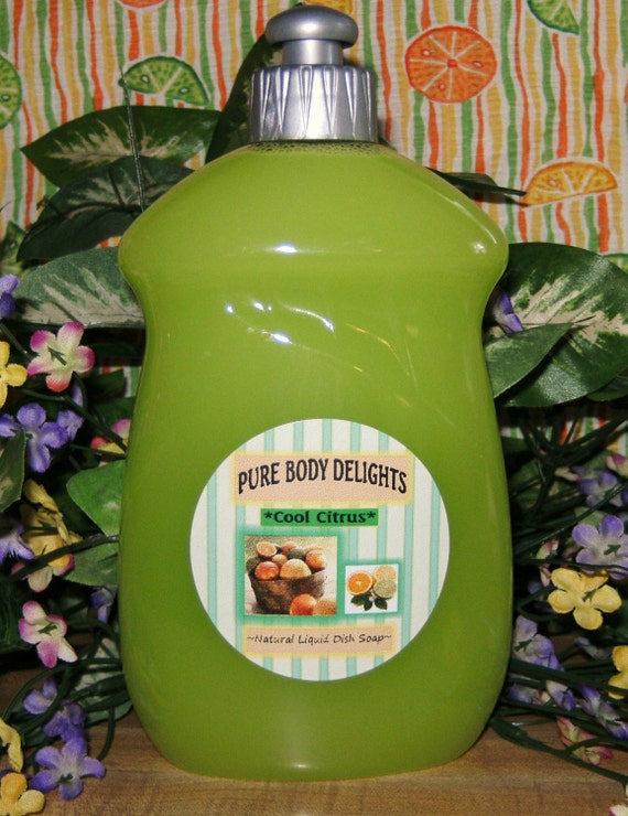 Cool Citrus-- Liquid Dish Soap--Made from Scratch--Cool and Refreshing--Can also be ordered UNSCENTED and NO color