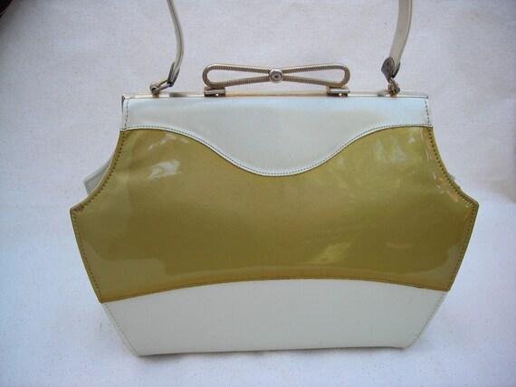 Street Racing Gold Metal Flake and Cream 1950 framed Handbag Purse