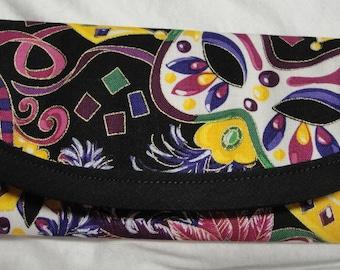 Mardi Gras Fabric, money gift, clutch, envelope, wallet, Mardi Gras Masks & Crowns cotton money 7x3