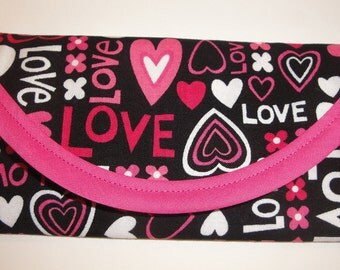 Valentine's day, LOVE, Hearts, cotton fabric, Wallet, for gift of money, Envelope, Clutch bag 7 x 3, honey Spa Day