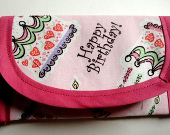Happy Birthday fabric Gift Card Wallet Envelope 5x3 inch Envelope, clutch, bags and Purses