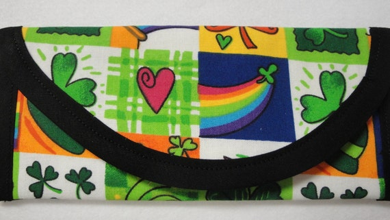 Saint Patricks day St Patty's fabric, Money cash Wallet, Clover, pot of gold, hearts, stars, Clutch, envelope, bags and purses