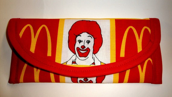 Ronald McDonalds cotton fabric, 7x3 inch, Wallet, Clutch, Envelope,  Bags and purses, gift of Maney