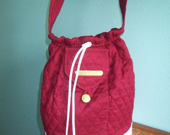 bag, burgandy, white trim,  SA