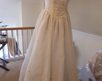wedding gown organza gown ,off white,custom made