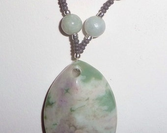 Green Stone Necklace - Green and Gray Necklace (sale/originally 19.99)