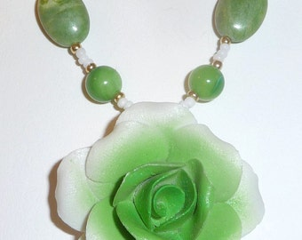 Green Rose Necklace - Vintage Rose - Green Stone Necklace - Green Flower - Green and White (sale/originally 19.99)