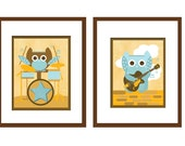 Art for Children, Owl and Music, Set of 2,  Owl with Drums and Guitar, 11X14, Other Sizes