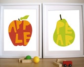 Nursery Art Print- Apple and Pear - 11X14 Inches, other sizes