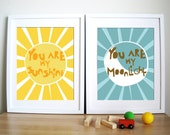 Modern Nursery Art Print- Sunshine and Moonlight, Gift for kids, room decor, paper gift