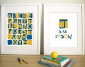 Modern Nursery Prints, Set of 2- ScreenPrint style , 11X14 Inches, Other sizes available