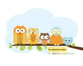 Family Art print for Nursery- Owl Family- 12X16 Inches, Other sizes