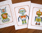 Robot Artwork Print for kids, Set of 3,  Robots Trio, 8X10 Inches, Custom Sizes and Colors