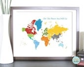 World Map Art for Kids, Print  for Nursery -World and Places -11X14 Inches, Birthday Gift, Baby Gift